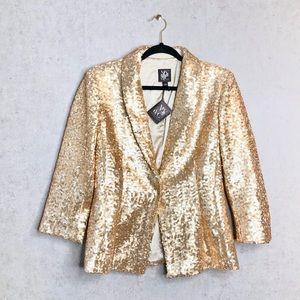 NY&Co | Gold Sequin Single Button Blazer